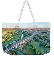 aerial view of Dismal River in Nebraska Weekender Tote Bag