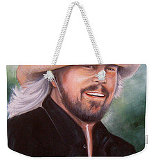 Weekender Tote Bag featuring the painting Barry Gibb by Patrice Torrillo