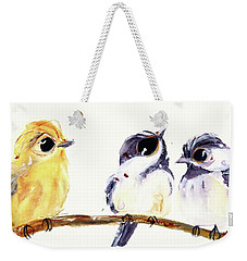 Weekender Tote Bag featuring the painting 3 Birds On A Branch by Dawn Derman