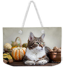 Cat And Pumpkins Weekender Tote Bag