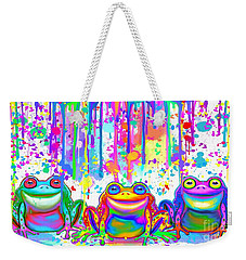 Weekender Tote Bag featuring the painting 3 Colorful Painted Frogs by Nick Gustafson