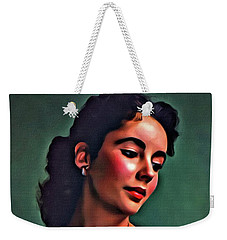 Elizabeth Taylor, Vintage Hollywood Legend By Mary Bassett Weekender Tote Bag by Mary Bassett