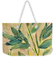 Weekender Tote Bag featuring the painting 3 Flowers by Maria Langgle