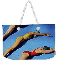 3 Lady Swimmers Weekender Tote Bag by Joan Reese