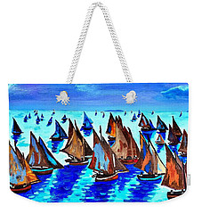 Monet Fishing Boats Calm Seas Weekender Tote Bag