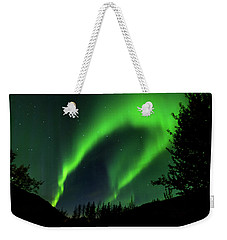 Weekender Tote Bag featuring the photograph Northern Lights, Aurora Borealis At Kantishna Lodge In Denali National Park by Brenda Jacobs