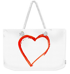 Weekender Tote Bag featuring the drawing Painted Heart - Symbol Of Love by Michal Boubin