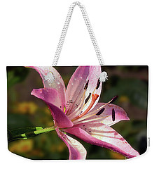 Weekender Tote Bag featuring the photograph Pink Lily by Elvira Ladocki
