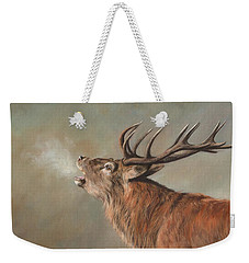 Weekender Tote Bag featuring the painting Red Deer Stag by David Stribbling