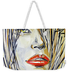 Red Lipstick 081208 Weekender Tote Bag by Selena Boron
