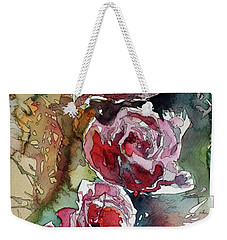 Weekender Tote Bag featuring the painting Roses by Kovacs Anna Brigitta