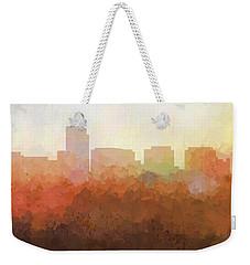 Weekender Tote Bag featuring the digital art Rosslyn Virginia Skyline by Marlene Watson