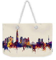 Weekender Tote Bag featuring the digital art Seoul Skyline South Korea by Michael Tompsett