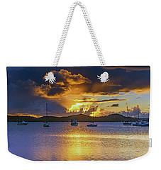 Sunrise Waterscape With Clouds And Boats Weekender Tote Bag