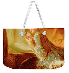 Weekender Tote Bag featuring the painting The Love Letter by Jean Honore Fragonard