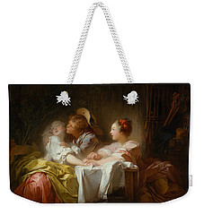 The Stolen Kiss Weekender Tote Bag by Jean-Honore Fragonard