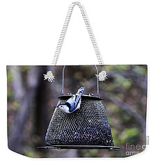 Weekender Tote Bag featuring the photograph White Breasted Nuthatch  by Yumi Johnson