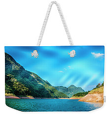 The Mountains And Reservoir Scenery With Blue Sky Weekender Tote Bag