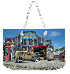 '34 Ford Sedan At Blue Water Garage Weekender Tote Bag