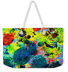 Weekender Tote Bag featuring the photograph 3.5 Squashed Oil 1970s #2 by Tom Janca