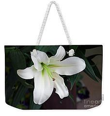 White Lily Weekender Tote Bag by Elvira Ladocki