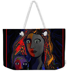 Weekender Tote Bag featuring the digital art 381- Child Keep Your Mouth Shut 2017 by Irmgard Schoendorf Welch