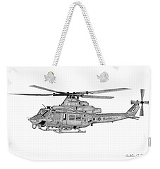 Weekender Tote Bag featuring the digital art Bell Helicopter Uh-1y Venom by Arthur Eggers