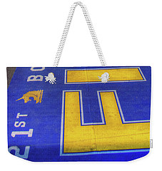 Weekender Tote Bag featuring the photograph Boston Marathon Finish Line by Joann Vitali