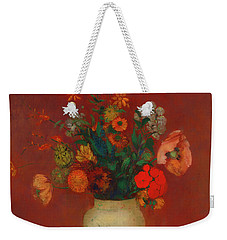 Weekender Tote Bag featuring the painting Bouquet In A Chinese Vase by Odilon Redon