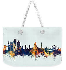 Weekender Tote Bag featuring the digital art Brussels Belgium Skyline by Michael Tompsett