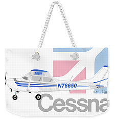 Weekender Tote Bag featuring the digital art Cessna O-2 Skymaster by Arthur Eggers