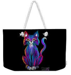 Colorful Cat Weekender Tote Bag by Nick Gustafson