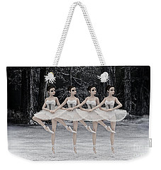 Weekender Tote Bag featuring the digital art 4 Little Swans by Methune Hively