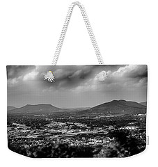 Roanoke City As Seen From Mill Mountain Star At Dusk In Virginia Weekender Tote Bag