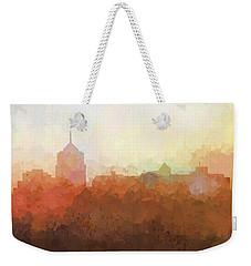 Weekender Tote Bag featuring the digital art Roanoke Virginia Skyline by Marlene Watson