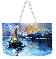 Weekender Tote Bag featuring the painting Sailboat by Kovacs Anna Brigitta