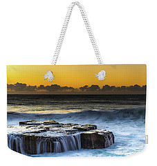 Sunrise Seascape With Cascades Over The Rock Ledge Weekender Tote Bag