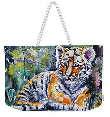 Weekender Tote Bag featuring the painting Tiger Cub by Kovacs Anna Brigitta