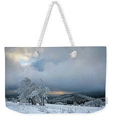 Typical Snowy Landscape In Ore Mountains, Czech Republic. Weekender Tote Bag