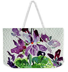 Weekender Tote Bag featuring the painting Violet by Kovacs Anna Brigitta