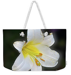 Weekender Tote Bag featuring the photograph White Lily by Elvira Ladocki