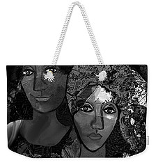 Weekender Tote Bag featuring the digital art 452 - Secrets Of Friendship by Irmgard Schoendorf Welch