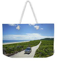 4wd Car Exploring Remote Track On Sand Island Weekender Tote Bag