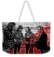 Crosby Stills Nash And Young Weekender Tote Bag by Marvin Blaine