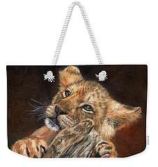 Lion Cub Weekender Tote Bag by David Stribbling