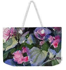 Weekender Tote Bag featuring the painting My Annual Begonias by Kris Parins
