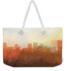 Weekender Tote Bag featuring the digital art Norfolk Virginia Skyline by Marlene Watson