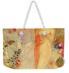 Weekender Tote Bag featuring the painting Pandora by Odilon Redon