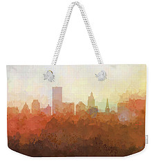 Weekender Tote Bag featuring the digital art Providence Rhode Island Skyline by Marlene Watson