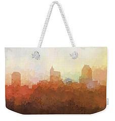 Weekender Tote Bag featuring the digital art Raleigh North Carolina Skyline by Marlene Watson